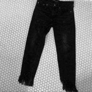 Zara Faded Black Distressed Jeans with Frayed Hem